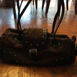 Longchamp handbag canvas and leather